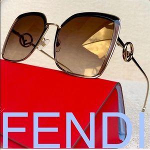 💯 FENDI 58mm square MIRRORED sunglasses